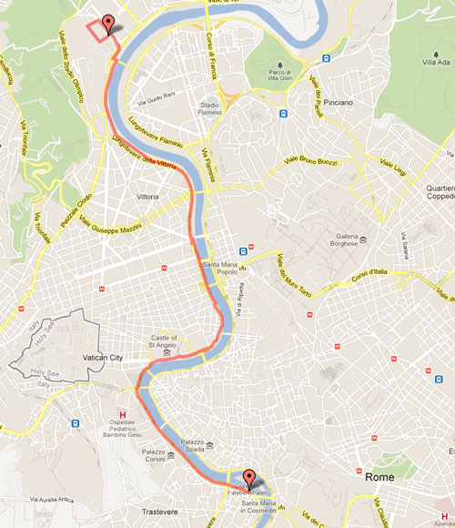 Do It Clean Rome Running Routes Italo Calvinos Bearable - Ancient rome map tiber river